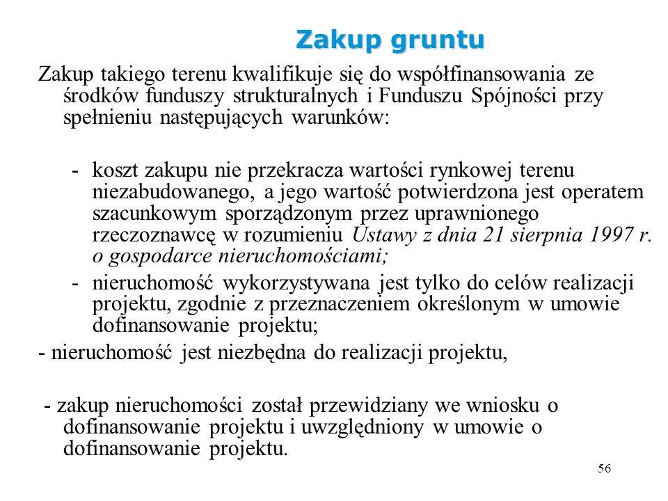 56 Zakup gruntu Zakup takiego terenu kwalifikuje się do współfinansowania ze środków funduszy strukturalnych i Funduszu Spójności przy spełnieniu nast