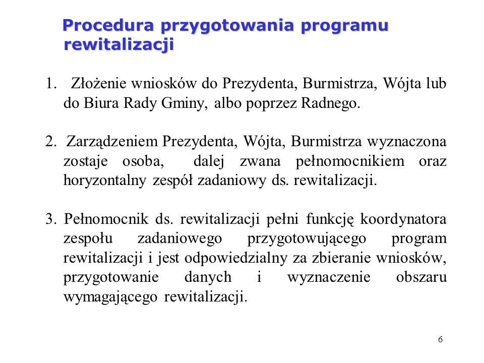 6 Procedura przygotowania programu rewitalizacji Procedura przygotowania programu rewitalizacji 1. Złożenie wniosków do Prezydenta, Burmistrza, Wójta