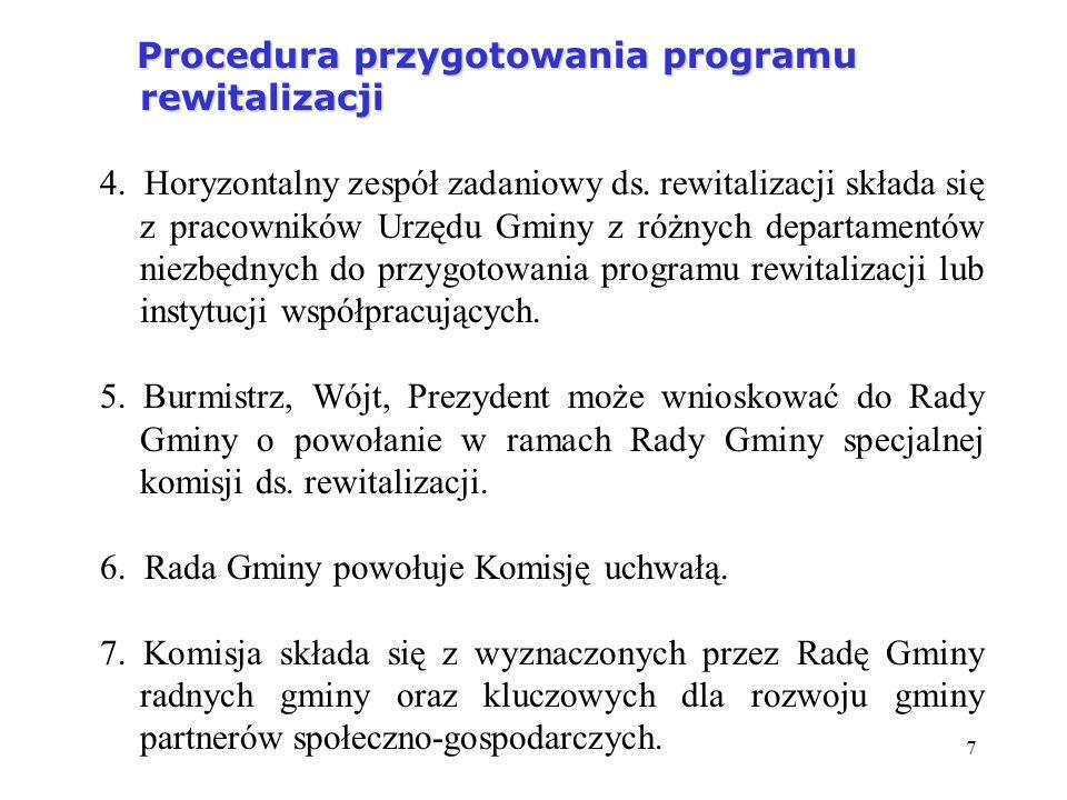 7 Procedura przygotowania programu rewitalizacji Procedura przygotowania programu rewitalizacji 4. Horyzontalny zespół zadaniowy ds. rewitalizacji skł