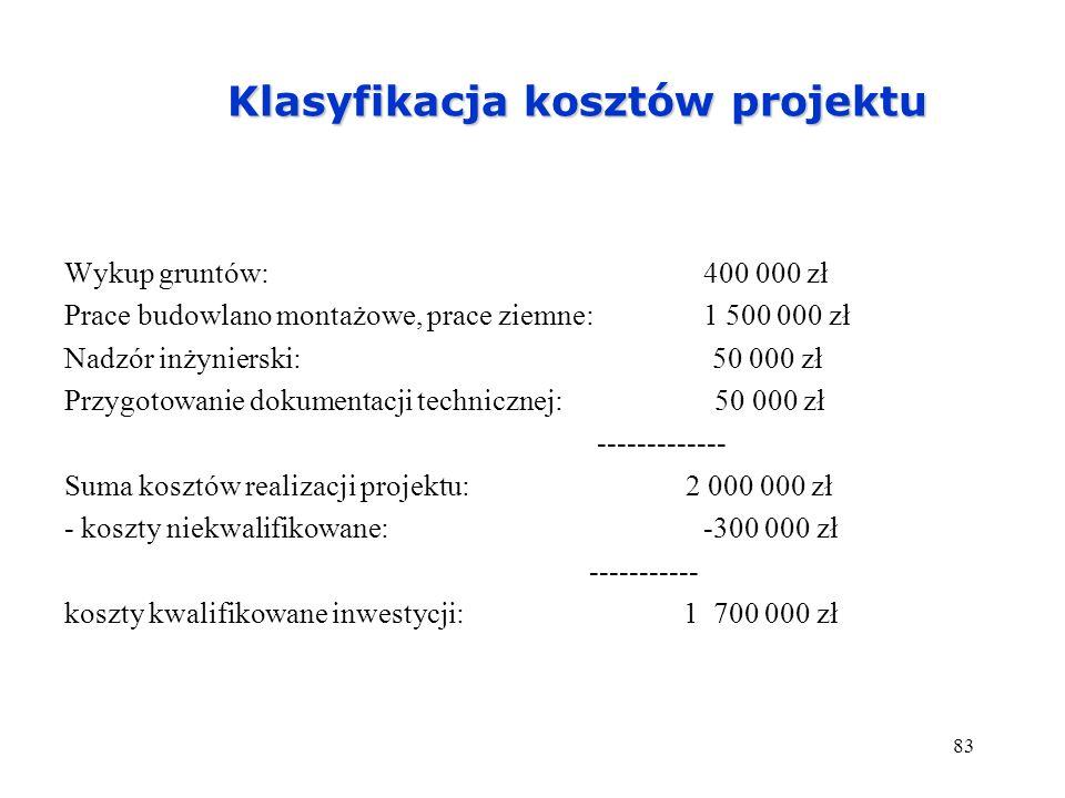 83 Klasyfikacja kosztów projektu Wykup gruntów:400 000 zł Prace budowlano montażowe, prace ziemne: 1 500 000 zł Nadzór inżynierski: 50 000 zł Przygoto