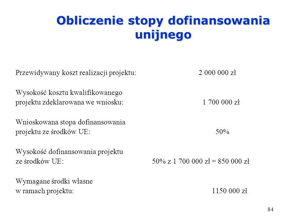 84 Obliczenie stopy dofinansowania unijnego Przewidywany koszt realizacji projektu: 2 000 000 zł Wysokość kosztu kwalifikowanego projektu zdeklarowana