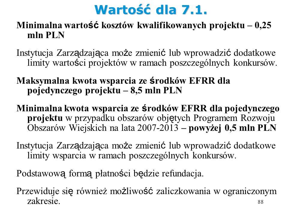 88 Minimalna warto ść kosztów kwalifikowanych projektu – 0,25 mln PLN Instytucja Zarz ą dzaj ą ca mo ż e zmieni ć lub wprowadzi ć dodatkowe limity war