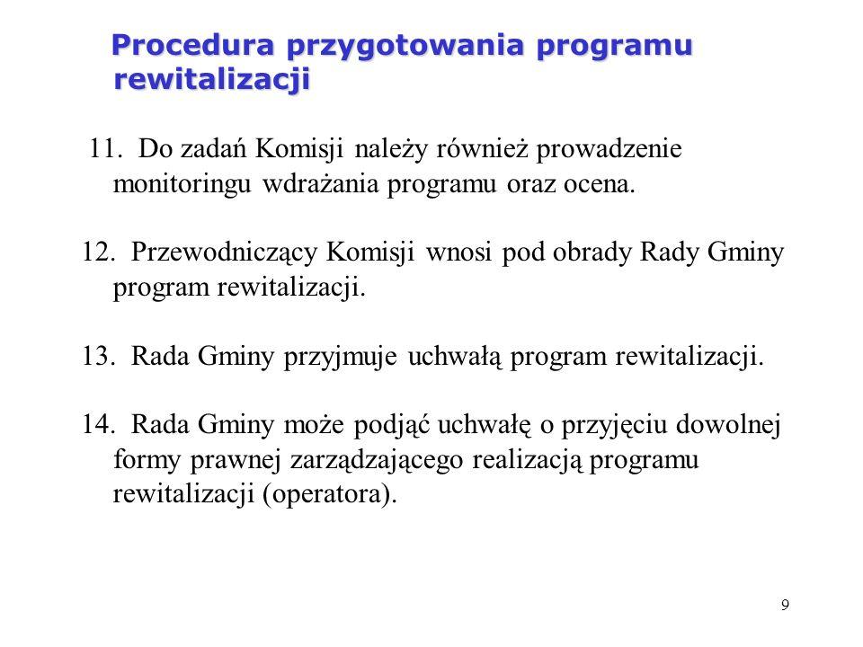 9 Procedura przygotowania programu rewitalizacji Procedura przygotowania programu rewitalizacji 11. Do zadań Komisji należy również prowadzenie monito