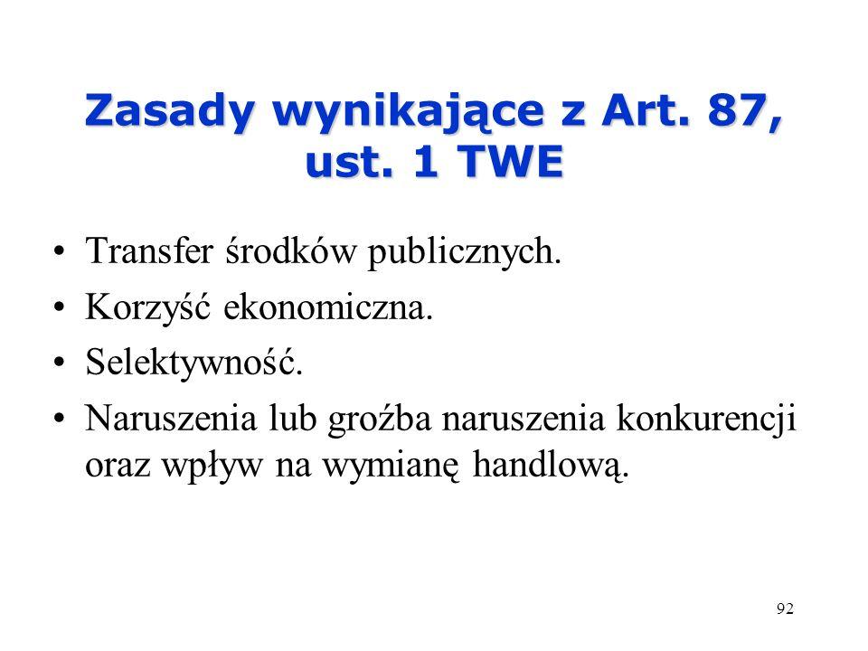 92 Zasady wynikające z Art. 87, ust. 1 TWE Transfer środków publicznych. Korzyść ekonomiczna. Selektywność. Naruszenia lub groźba naruszenia konkurenc