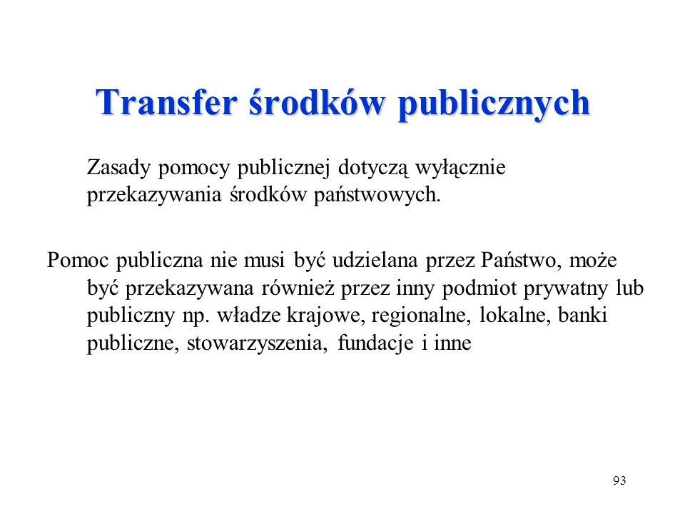 93 Transfer środków publicznych Zasady pomocy publicznej dotyczą wyłącznie przekazywania środków państwowych. Pomoc publiczna nie musi być udzielana p