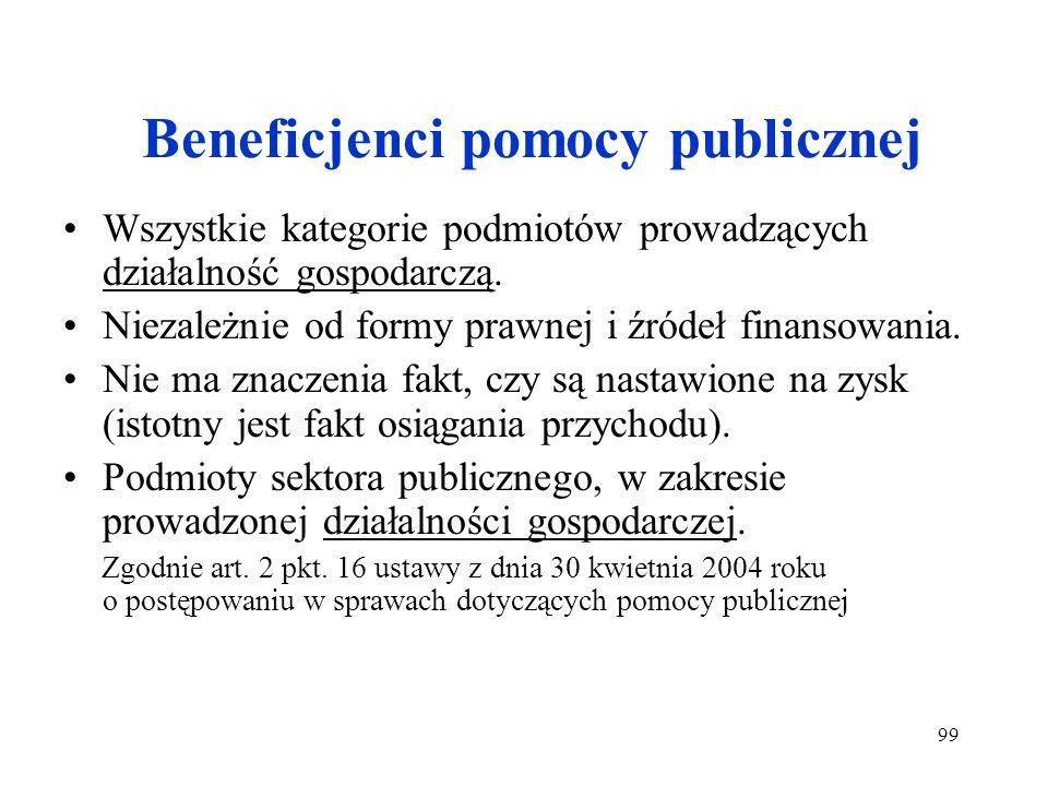 99 Beneficjenci pomocy publicznej Wszystkie kategorie podmiotów prowadzących działalność gospodarczą. Niezależnie od formy prawnej i źródeł finansowan
