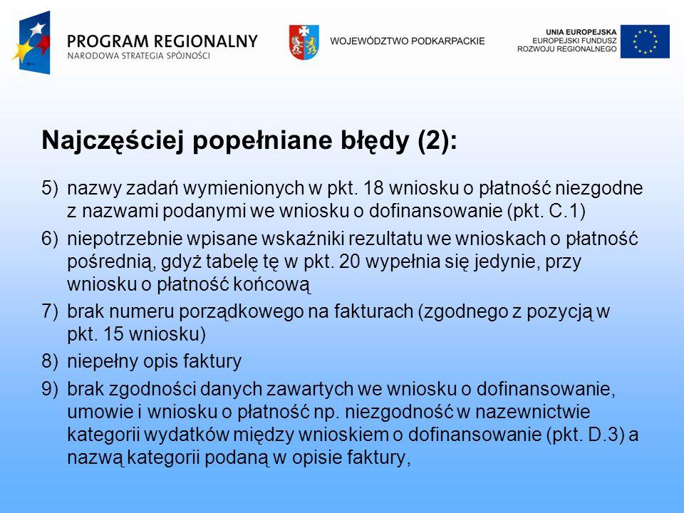 Najczęściej popełniane błędy (2): 5)nazwy zadań wymienionych w pkt.