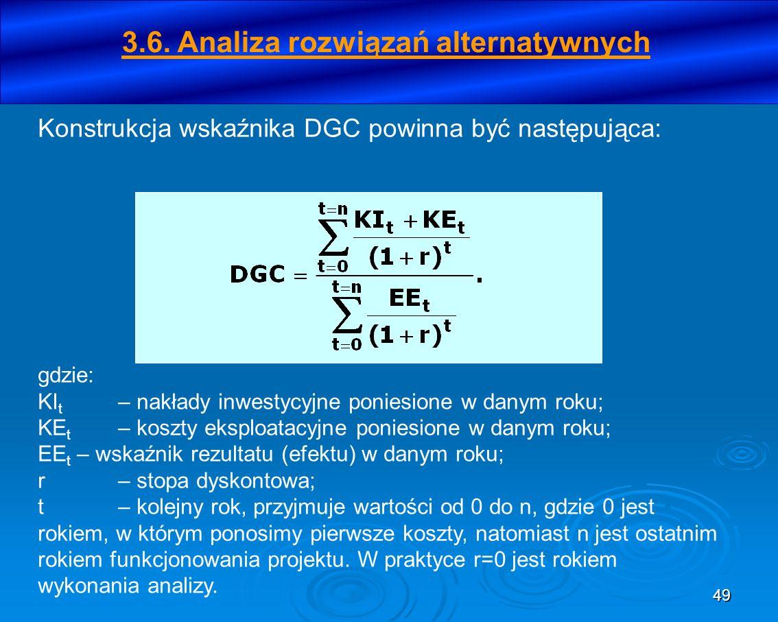 50 b) metoda opisowa – analiza silnych i słabych stron każdego z wariantów.