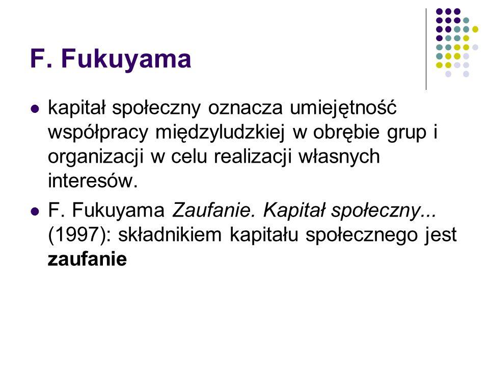F. Fukuyama kapitał społeczny oznacza umiejętność współpracy międzyludzkiej w obrębie grup i organizacji w celu realizacji własnych interesów. F. Fuku