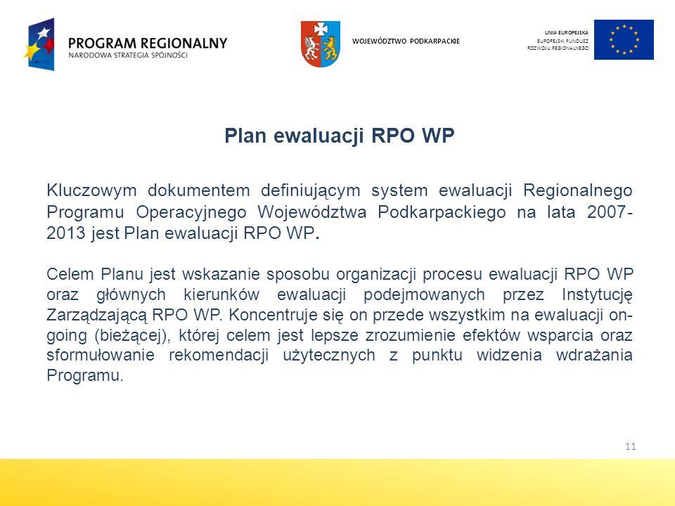 11 Plan ewaluacji RPO WP Kluczowym dokumentem definiującym system ewaluacji Regionalnego Programu Operacyjnego Województwa Podkarpackiego na lata 2007- 2013 jest Plan ewaluacji RPO WP.