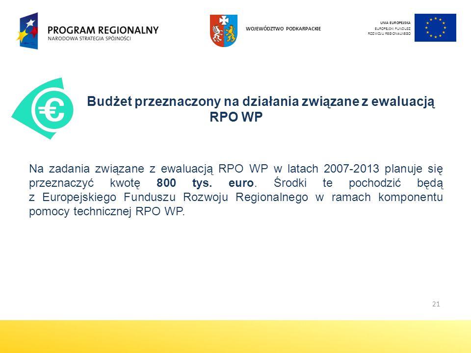 21 Budżet przeznaczony na działania związane z ewaluacją RPO WP Na zadania związane z ewaluacją RPO WP w latach 2007-2013 planuje się przeznaczyć kwotę 800 tys.