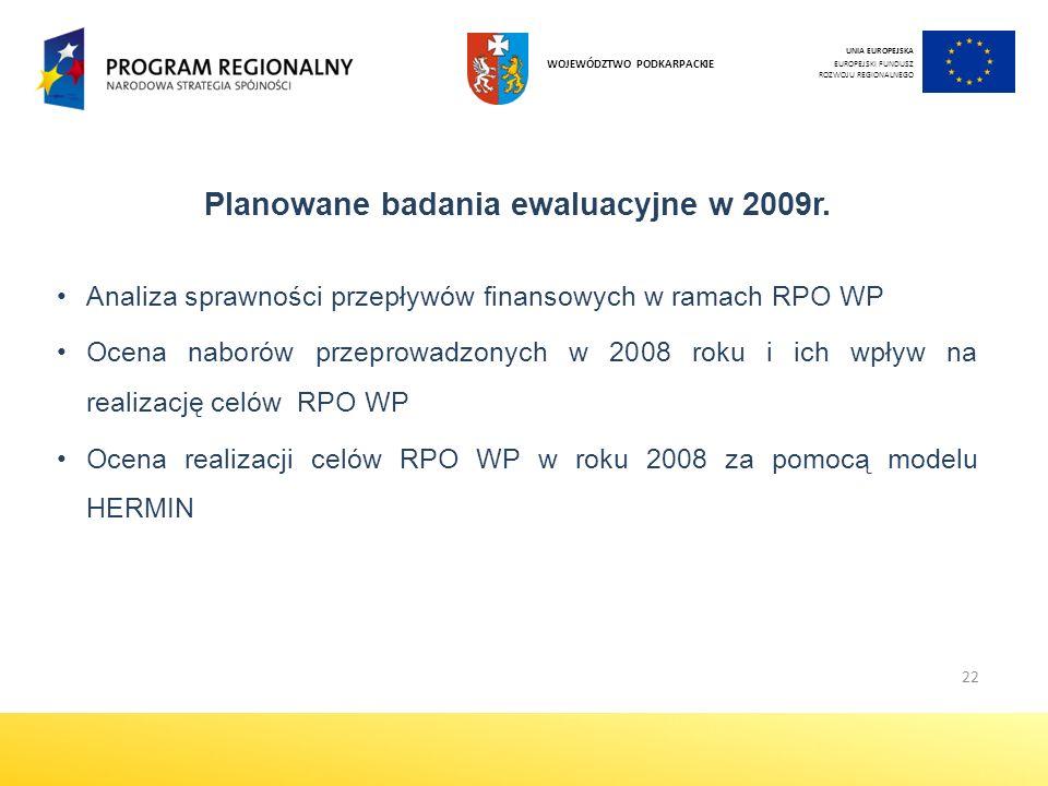 22 UNIA EUROPEJSKA EUROPEJSKI FUNDUSZ ROZWOJU REGIONALNEGO WOJEWÓDZTWO PODKARPACKIE Planowane badania ewaluacyjne w 2009r.