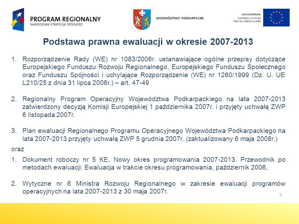 5 Podstawa prawna ewaluacji w okresie 2007-2013 1.Rozporządzenie Rady (WE) nr 1083/2006r.