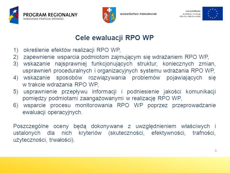 6 Cele ewaluacji RPO WP 1) określenie efektów realizacji RPO WP, 2) zapewnienie wsparcia podmiotom zajmującym się wdrażaniem RPO WP, 3) wskazanie najsprawniej funkcjonujących struktur, koniecznych zmian, usprawnień proceduralnych i organizacyjnych systemu wdrażania RPO WP, 4) wskazanie sposobów rozwiązywania problemów pojawiających się w trakcie wdrażania RPO WP, 5) usprawnienie przepływu informacji i podniesienie jakości komunikacji pomiędzy podmiotami zaangażowanymi w realizację RPO WP, 6) wsparcie procesu monitorowania RPO WP poprzez przeprowadzanie ewaluacji operacyjnych.