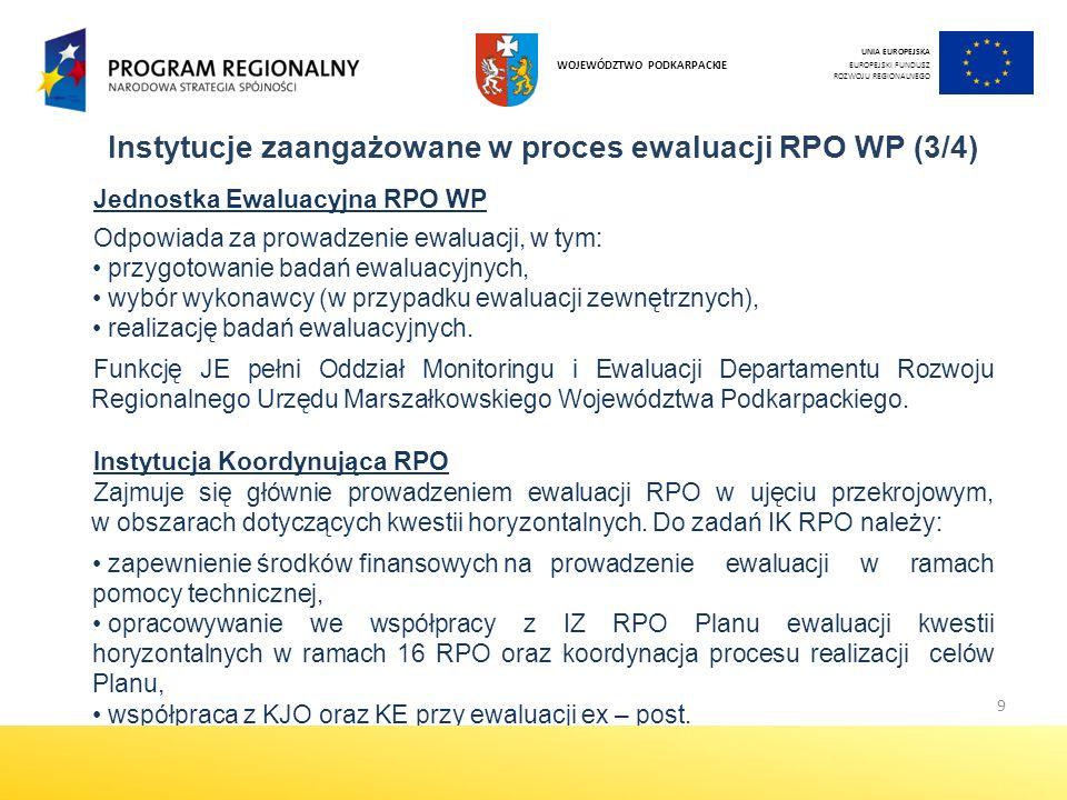 10 Instytucje zaangażowane w proces ewaluacji RPO WP (4/4) Grupa sterująca procesem ewaluacji RPO WP wsparcie dla JE przy formułowaniu zakresu ewaluacji, wsparcie dla JE przy formułowaniu kryteriów wyboru wykonawcy badania ewaluacyjnego oraz kryteriów oceny ofert składanych przez oferentów, monitorowanie procesu wdrażania rekomendacji sformułowanych w wyniku przeprowadzonych ewaluacji.