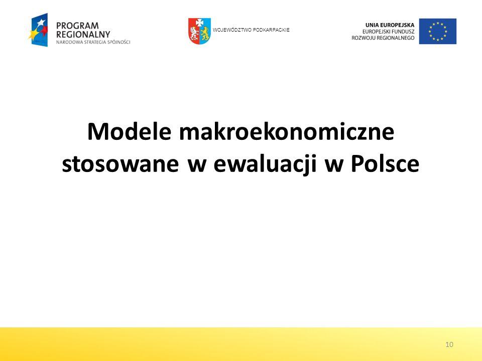 10 Modele makroekonomiczne stosowane w ewaluacji w Polsce WOJEWÓDZTWO PODKARPACKIE