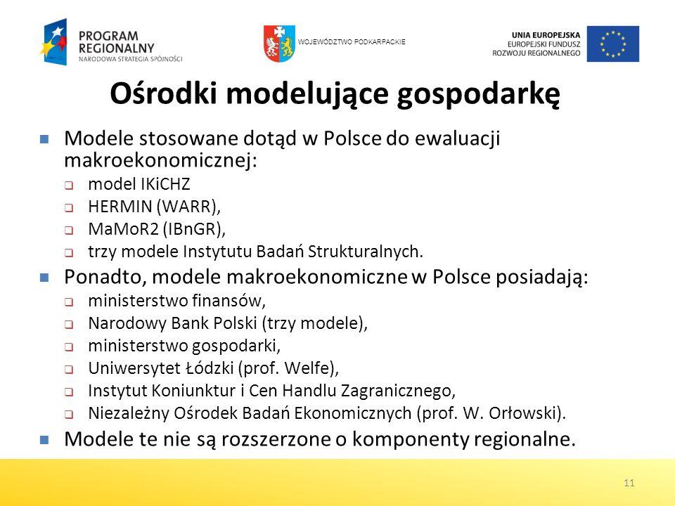 11 Ośrodki modelujące gospodarkę Modele stosowane dotąd w Polsce do ewaluacji makroekonomicznej: model IKiCHZ HERMIN (WARR), MaMoR2 (IBnGR), trzy mode