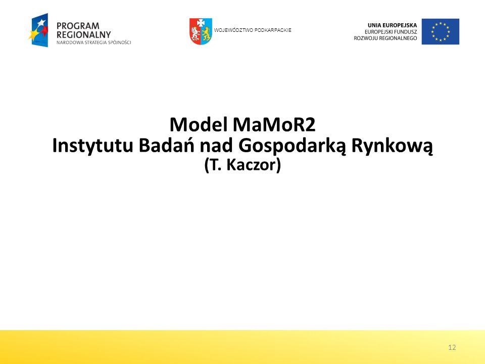 12 Model MaMoR2 Instytutu Badań nad Gospodarką Rynkową (T. Kaczor) WOJEWÓDZTWO PODKARPACKIE