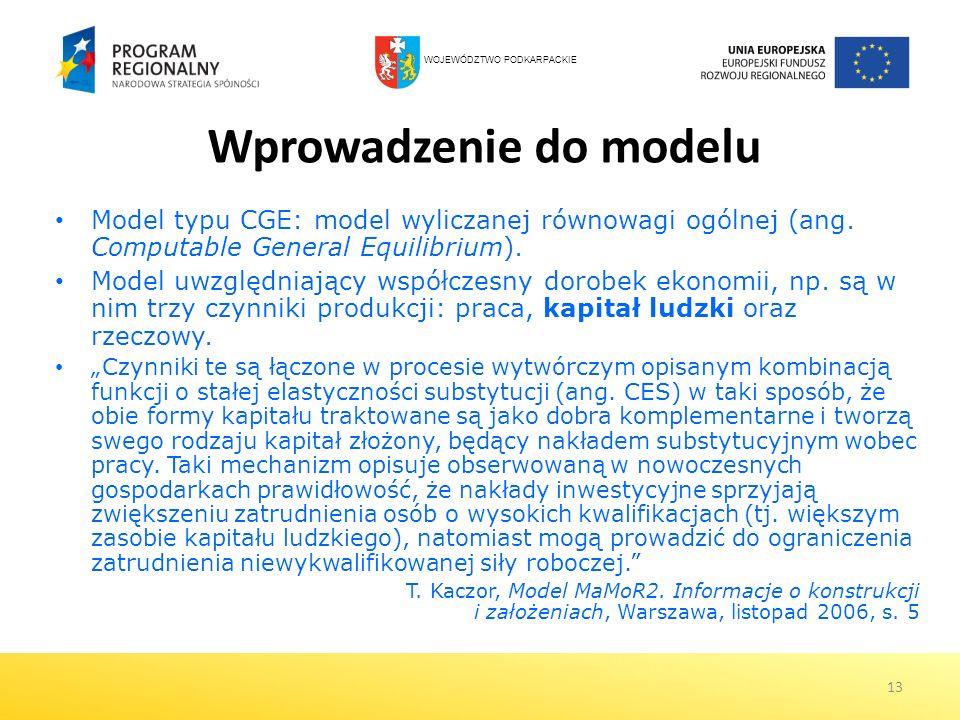 13 Wprowadzenie do modelu Model typu CGE: model wyliczanej równowagi ogólnej (ang. Computable General Equilibrium). Model uwzględniający współczesny d
