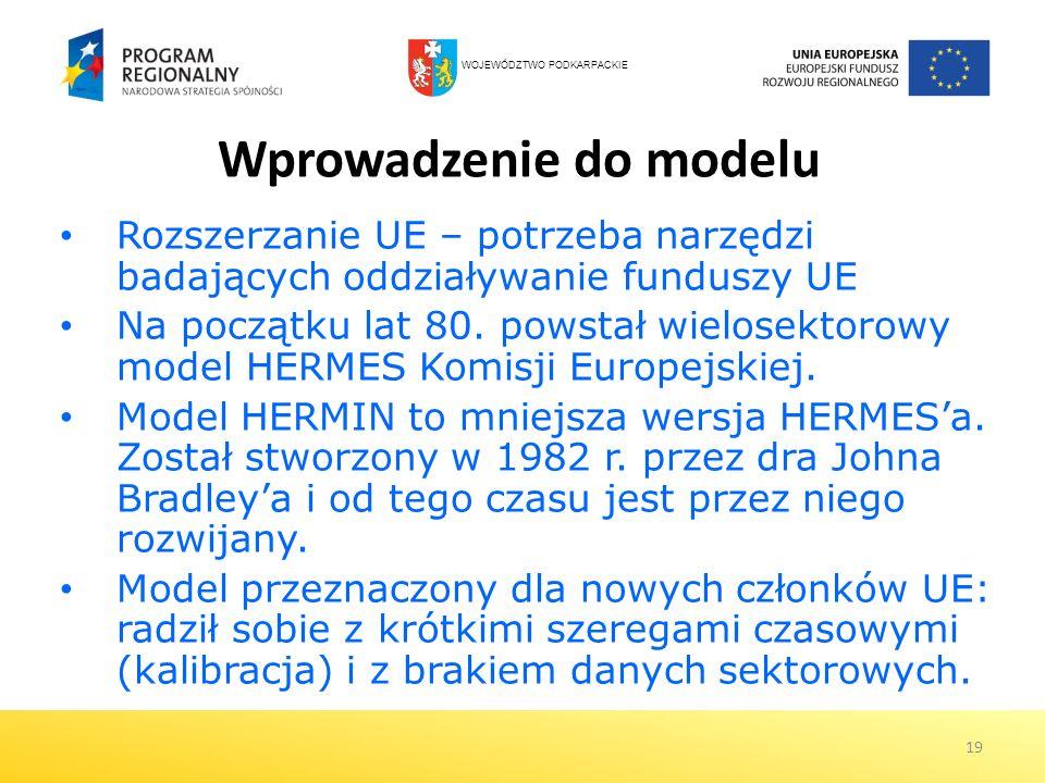 19 Wprowadzenie do modelu Rozszerzanie UE – potrzeba narzędzi badających oddziaływanie funduszy UE Na początku lat 80. powstał wielosektorowy model HE