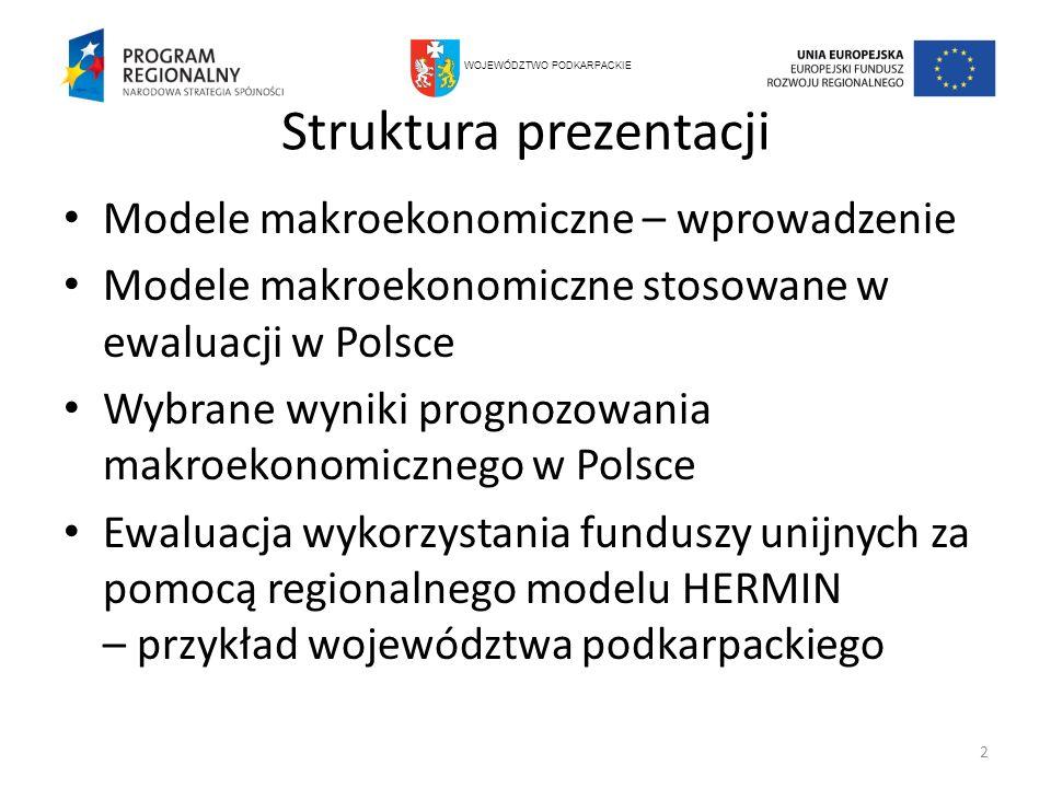 Struktura prezentacji Modele makroekonomiczne – wprowadzenie Modele makroekonomiczne stosowane w ewaluacji w Polsce Wybrane wyniki prognozowania makro