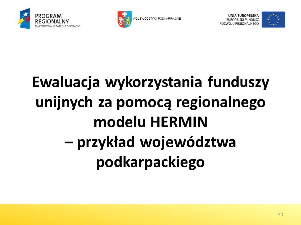 30 Ewaluacja wykorzystania funduszy unijnych za pomocą regionalnego modelu HERMIN – przykład województwa podkarpackiego WOJEWÓDZTWO PODKARPACKIE