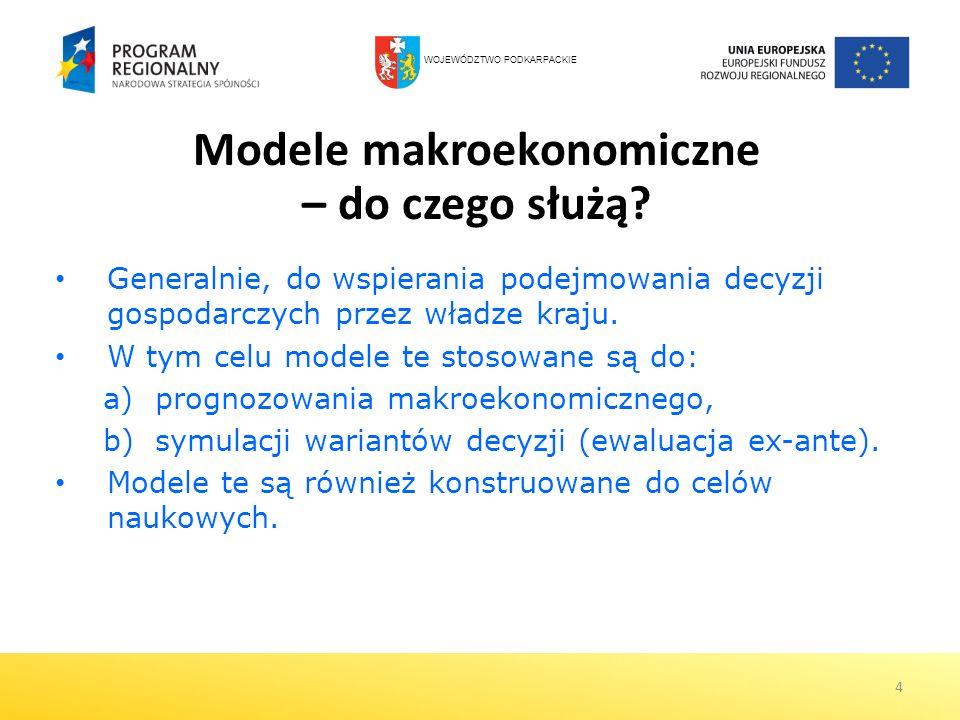 4 Modele makroekonomiczne – do czego służą? Generalnie, do wspierania podejmowania decyzji gospodarczych przez władze kraju. W tym celu modele te stos