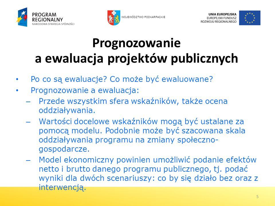 5 Prognozowanie a ewaluacja projektów publicznych Po co są ewaluacje? Co może być ewaluowane? Prognozowanie a ewaluacja: – Przede wszystkim sfera wska