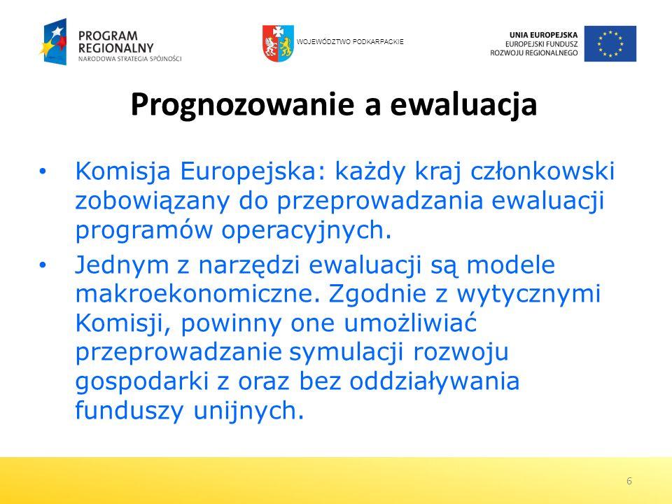 6 Prognozowanie a ewaluacja Komisja Europejska: każdy kraj członkowski zobowiązany do przeprowadzania ewaluacji programów operacyjnych. Jednym z narzę