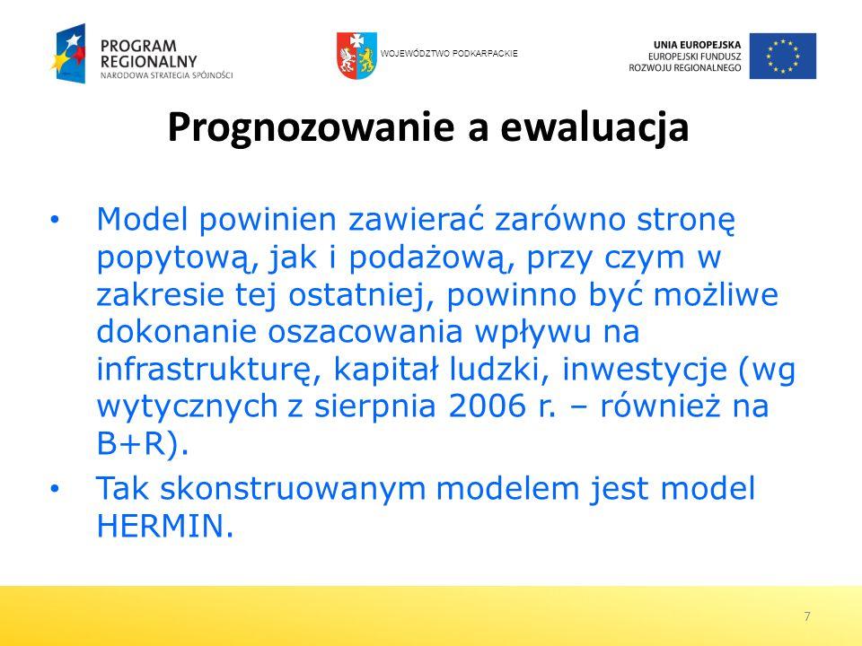 7 Prognozowanie a ewaluacja Model powinien zawierać zarówno stronę popytową, jak i podażową, przy czym w zakresie tej ostatniej, powinno być możliwe d