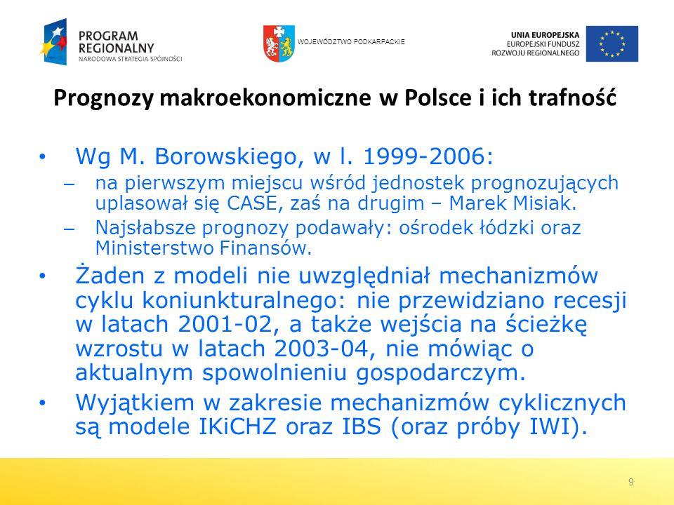 9 Prognozy makroekonomiczne w Polsce i ich trafność Wg M. Borowskiego, w l. 1999-2006: – na pierwszym miejscu wśród jednostek prognozujących uplasował