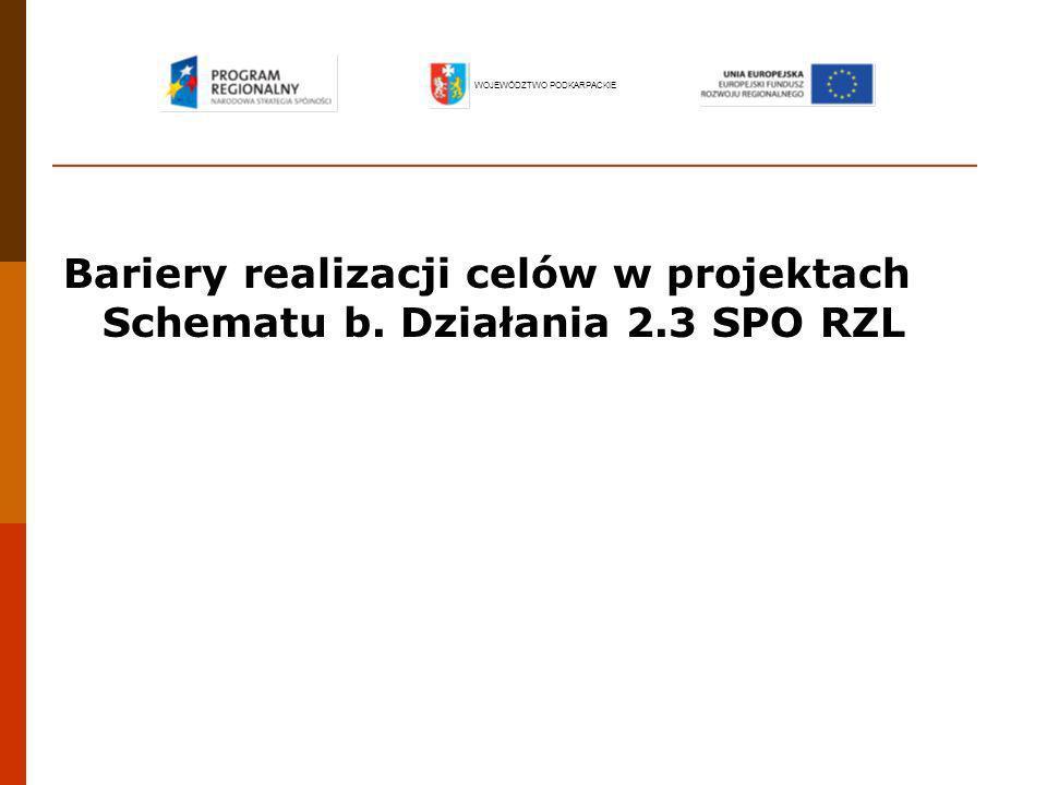 Bariery realizacji celów w projektach Schematu b. Działania 2.3 SPO RZL WOJEWÓDZTWO PODKARPACKIE