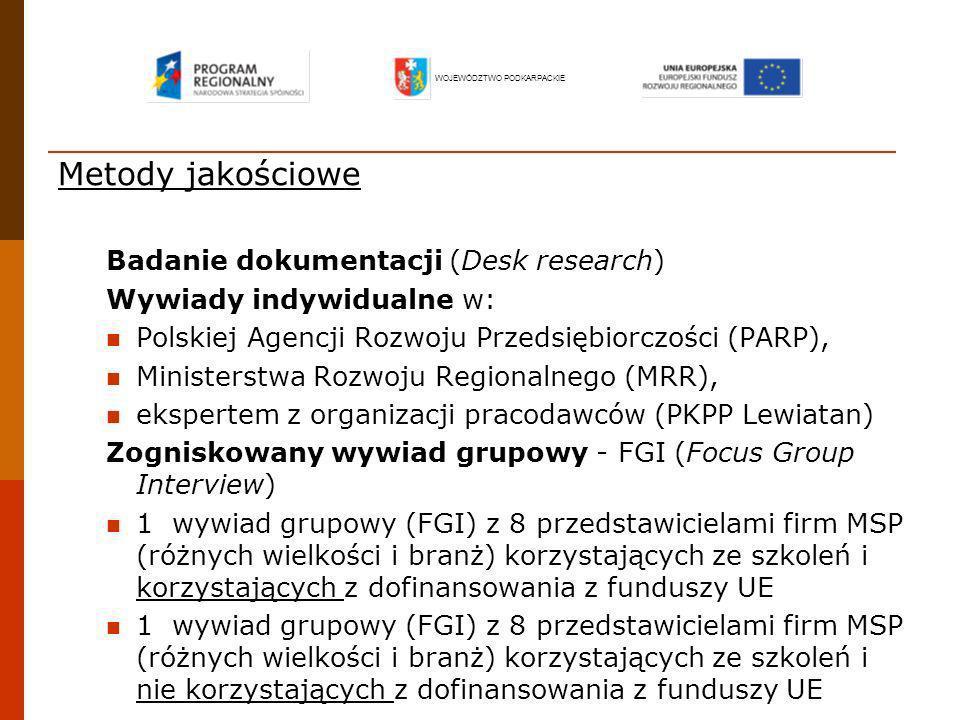 Metody jakościowe Badanie dokumentacji (Desk research) Wywiady indywidualne w: Polskiej Agencji Rozwoju Przedsiębiorczości (PARP), Ministerstwa Rozwoj