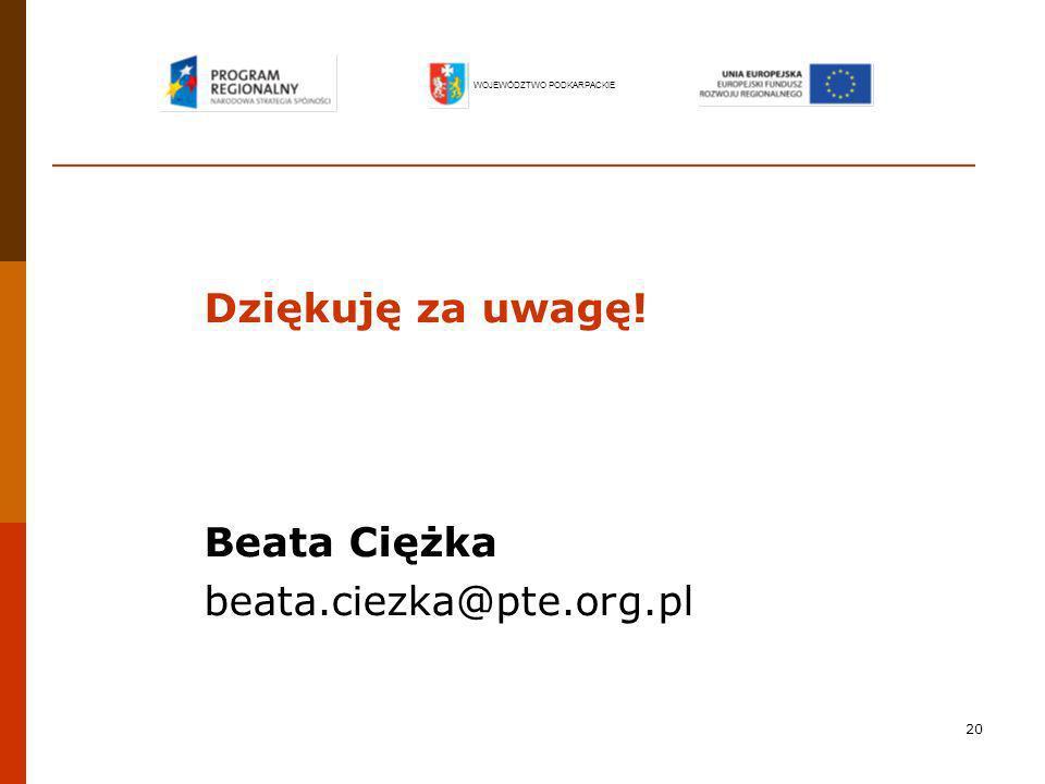 20 Dziękuję za uwagę! Beata Ciężka beata.ciezka@pte.org.pl WOJEWÓDZTWO PODKARPACKIE