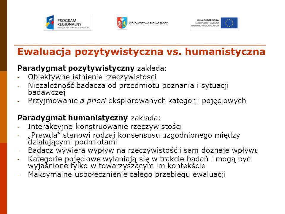 Ewaluacja pozytywistyczna vs. humanistyczna Paradygmat pozytywistyczny zakłada: - Obiektywne istnienie rzeczywistości - Niezależność badacza od przedm