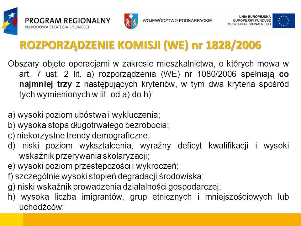 ROZPORZĄDZENIE KOMISJI (WE) nr 1828/2006 Obszary objęte operacjami w zakresie mieszkalnictwa, o których mowa w art. 7 ust. 2 lit. a) rozporządzenia (W