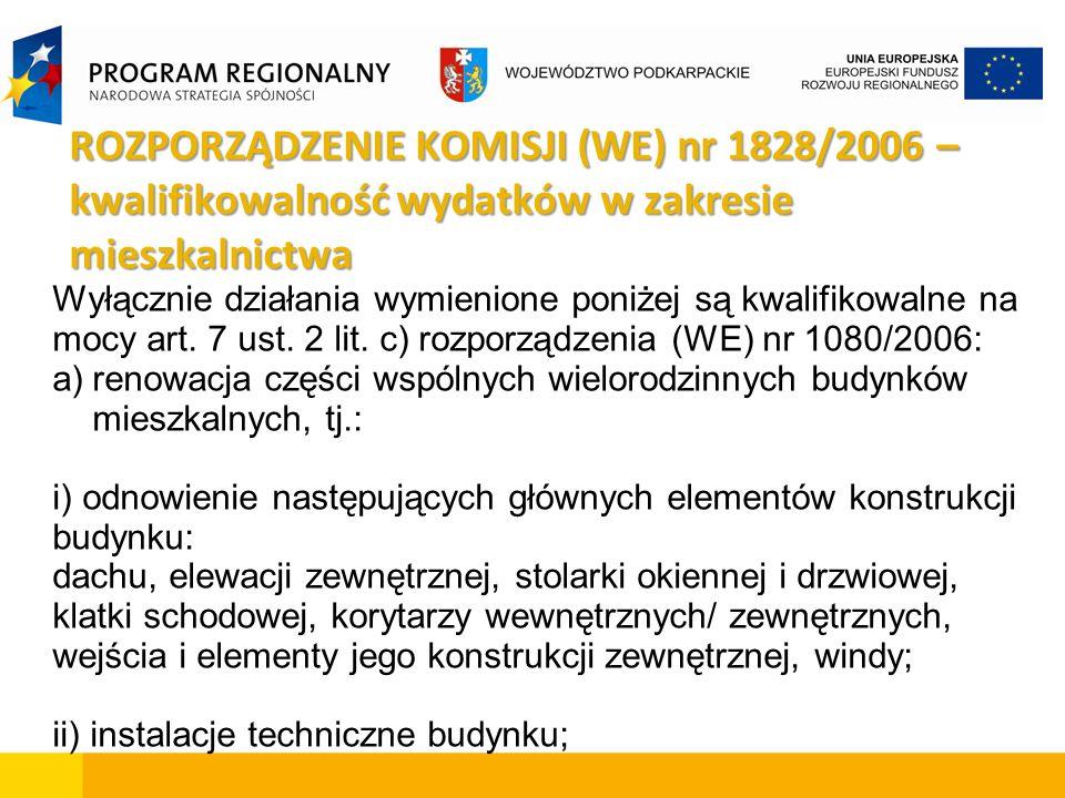 ROZPORZĄDZENIE KOMISJI (WE) nr 1828/2006 – kwalifikowalność wydatków w zakresie mieszkalnictwa Wyłącznie działania wymienione poniżej są kwalifikowalne na mocy art.