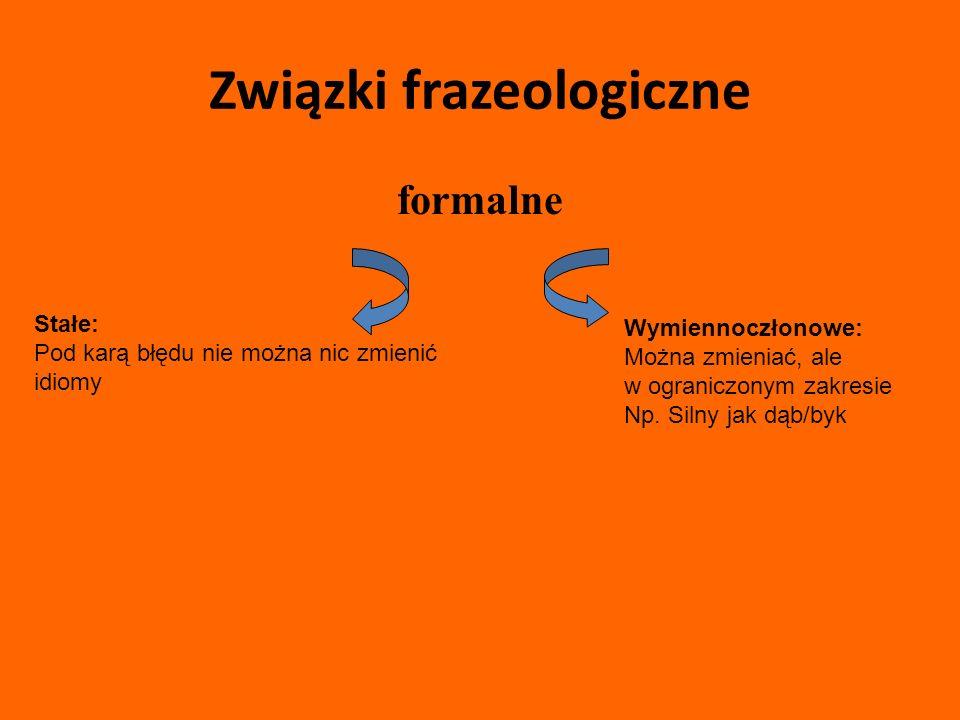 Związki frazeologiczne formalne Stałe: Pod karą błędu nie można nic zmienić idiomy Wymiennoczłonowe: Można zmieniać, ale w ograniczonym zakresie Np.