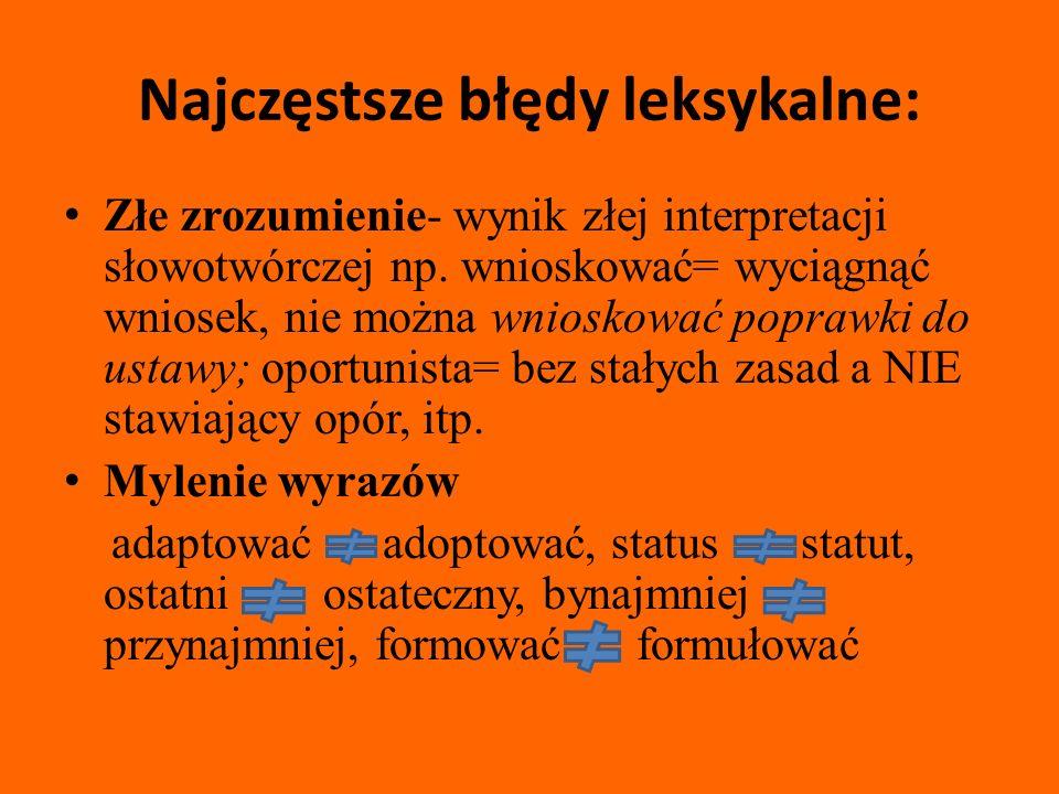 Najczęstsze błędy leksykalne: Złe zrozumienie- wynik złej interpretacji słowotwórczej np.
