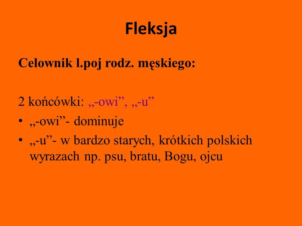 Fleksja Mianownik liczby mnogiej: Końcówki: -owie, -i, -y, -a, -e -a- odróżnianie znaczeń polisemicznych np.