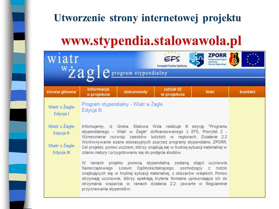 Utworzenie strony internetowej projektu www.stypendia.stalowawola.pl