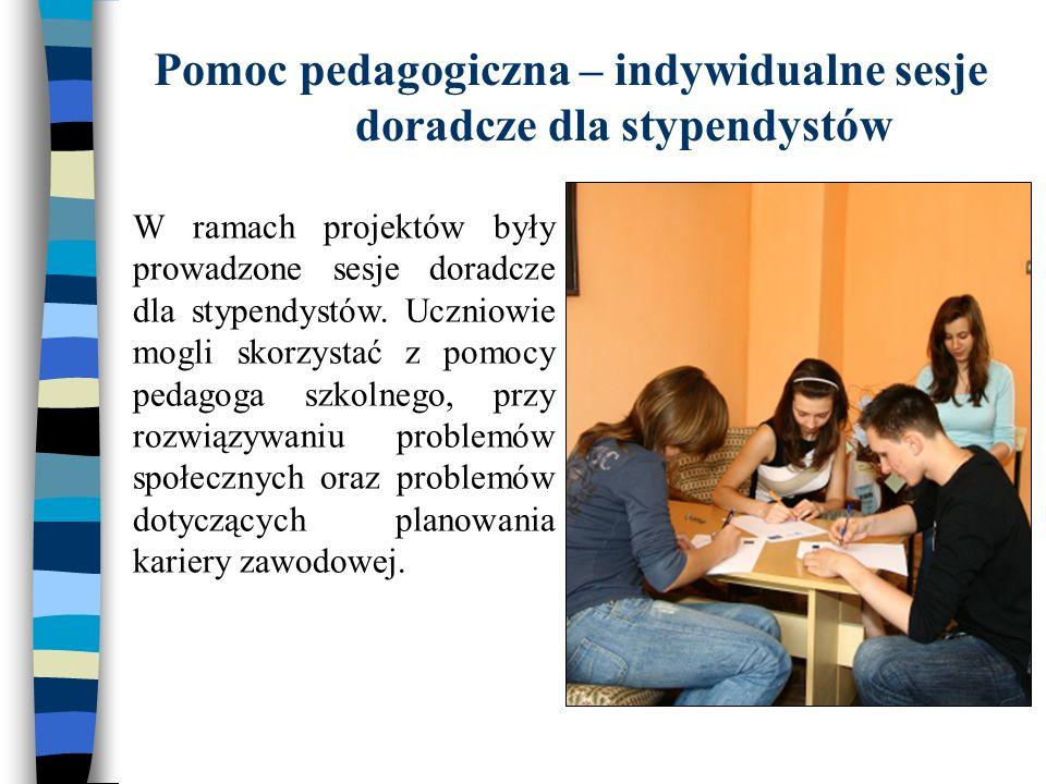 Pomoc pedagogiczna – indywidualne sesje doradcze dla stypendystów W ramach projektów były prowadzone sesje doradcze dla stypendystów. Uczniowie mogli