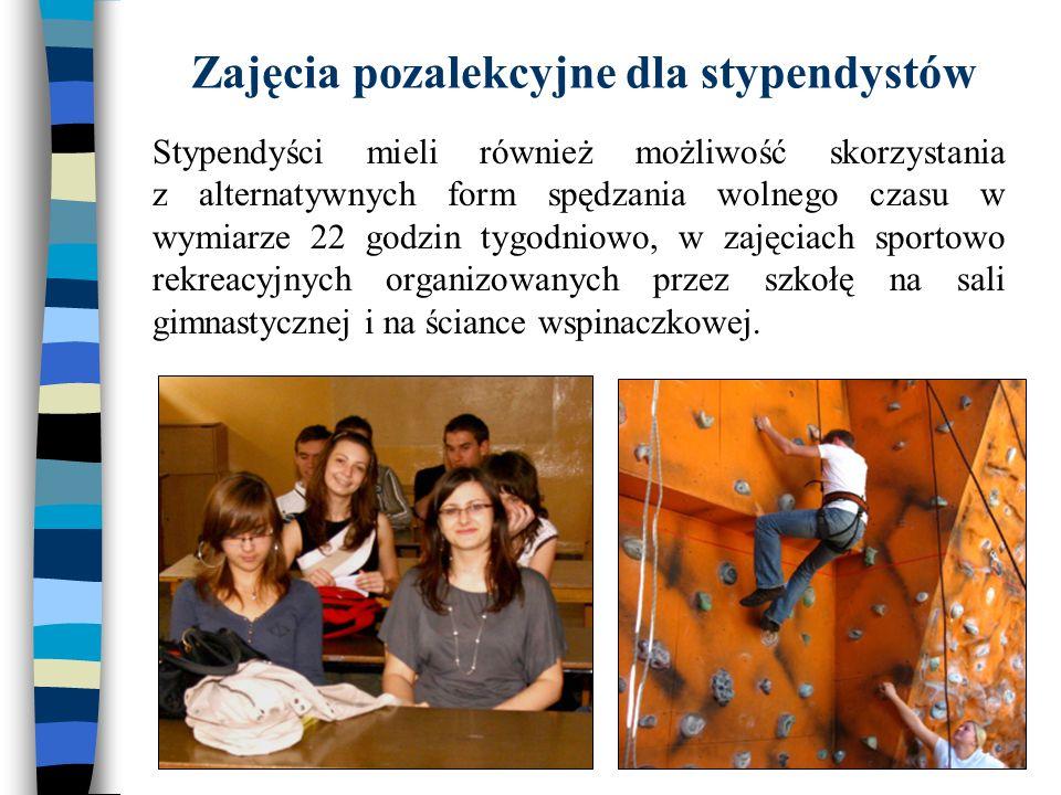 Zajęcia pozalekcyjne dla stypendystów Stypendyści mieli również możliwość skorzystania z alternatywnych form spędzania wolnego czasu w wymiarze 22 god