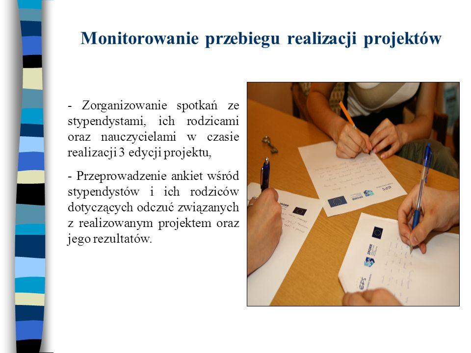 Monitorowanie przebiegu realizacji projektów - Zorganizowanie spotkań ze stypendystami, ich rodzicami oraz nauczycielami w czasie realizacji 3 edycji projektu, - Przeprowadzenie ankiet wśród stypendystów i ich rodziców dotyczących odczuć związanych z realizowanym projektem oraz jego rezultatów.