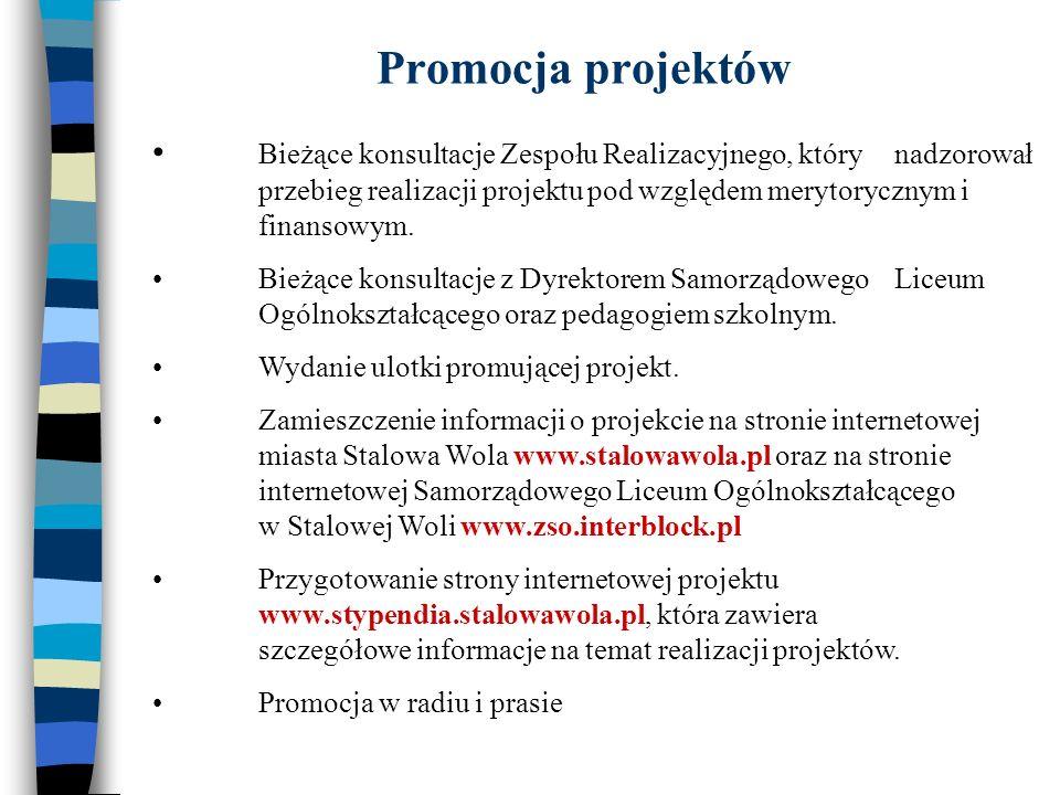 Promocja projektów Bieżące konsultacje Zespołu Realizacyjnego, który nadzorował przebieg realizacji projektu pod względem merytorycznym i finansowym.