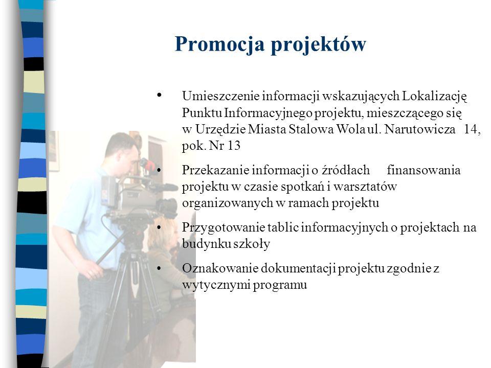 Promocja projektów Umieszczenie informacji wskazujących Lokalizację Punktu Informacyjnego projektu, mieszczącego się w Urzędzie Miasta Stalowa Wola ul.