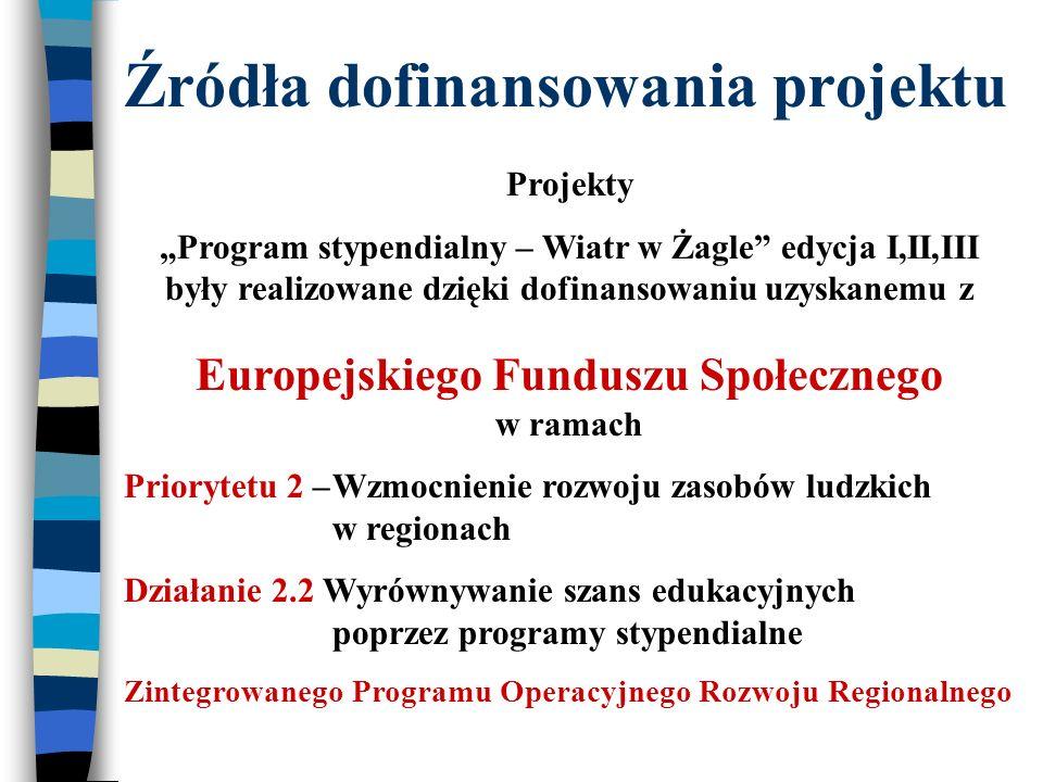 Źródła dofinansowania projektu Projekty Program stypendialny – Wiatr w Żagle edycja I,II,III były realizowane dzięki dofinansowaniu uzyskanemu z Europejskiego Funduszu Społecznego w ramach Priorytetu 2 –Wzmocnienie rozwoju zasobów ludzkich w regionach Działanie 2.2 Wyrównywanie szans edukacyjnych poprzez programy stypendialne Zintegrowanego Programu Operacyjnego Rozwoju Regionalnego