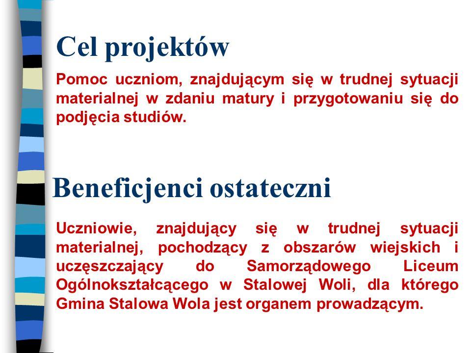 Beneficjenci ostateczni Uczniowie, znajdujący się w trudnej sytuacji materialnej, pochodzący z obszarów wiejskich i uczęszczający do Samorządowego Liceum Ogólnokształcącego w Stalowej Woli, dla którego Gmina Stalowa Wola jest organem prowadzącym.