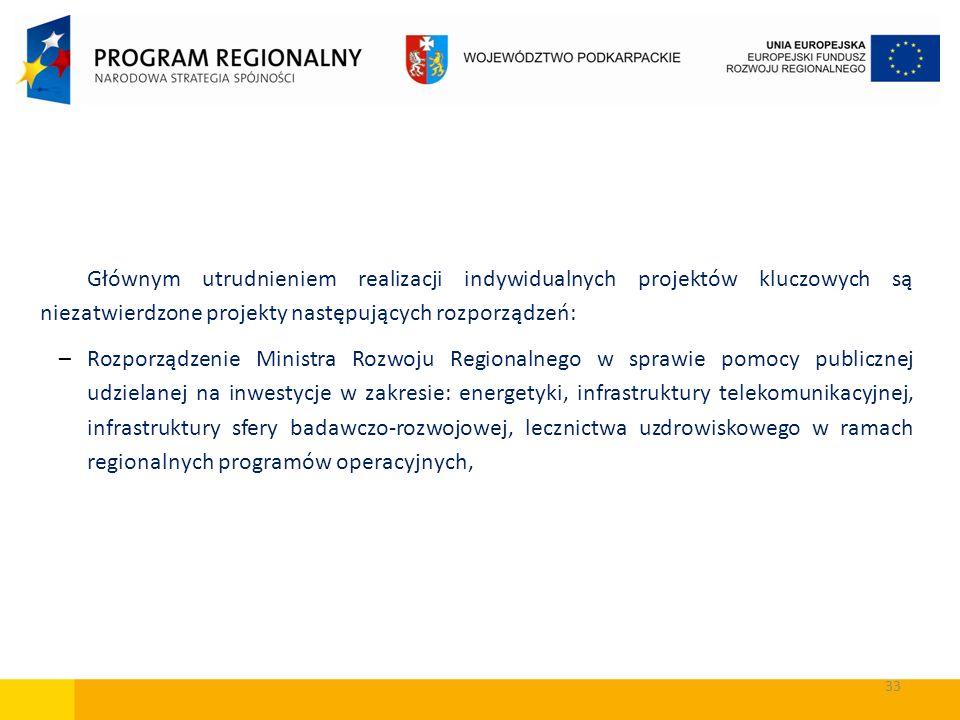 33 Głównym utrudnieniem realizacji indywidualnych projektów kluczowych są niezatwierdzone projekty następujących rozporządzeń: –Rozporządzenie Ministr
