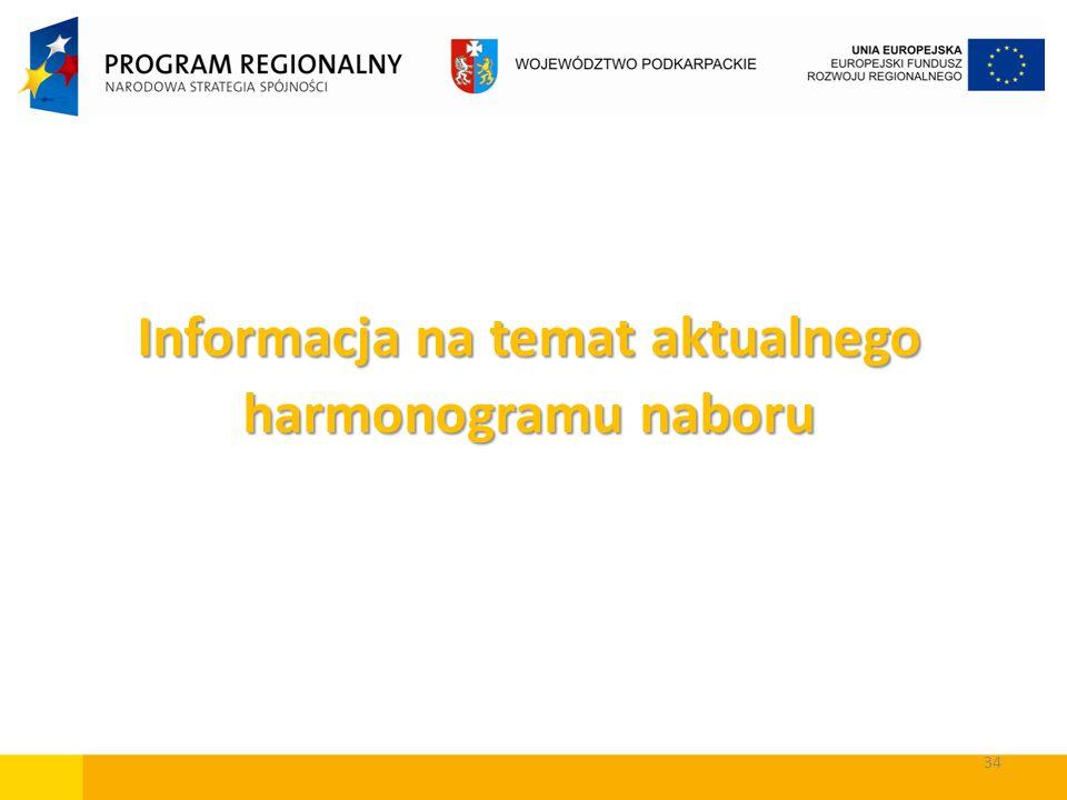 34 Informacja na temat aktualnego harmonogramu naboru
